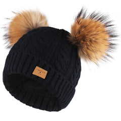 FURTALK Kids Winter Real Fur Pom Pom Hats Double Poms Drop shipping  SFFW033