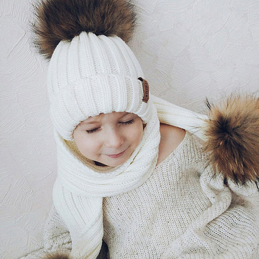 FURTALK Child Winter Real Fur Pom Pom Hat Drop Shipping HTWL028