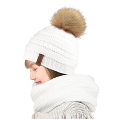 FURTALK  Kids Winter Faux Fur Pom Pom Hat Scarf Set Drop Shipping HTWL011
