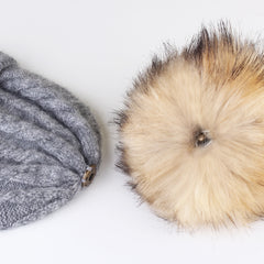 FURTALK Women Winter Faux Fur Pom Pom Hat Twist Drop Shipping AD001