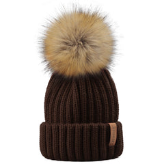 FURTALK  Winter Kids Faux Fur Pom Pom Hat  Drop Shipping HTWL028