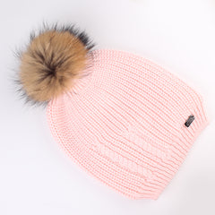 FURTALK Women Winter Real Fur  Slouchy Pompom Hat Drop Shipping  AD009