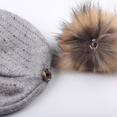 FURTALK Winter Women Slouchy Real Fur pompom Hat Sequin Drop Shipping AD004