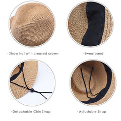 FURTALK Women Straw Panama Beach Hat Wild Ribbon  SH040