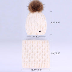 FURTALK Women Winter Real Fur Bobble Hat Scarf Set Diamond Pattern Drop Shipping HTWL091
