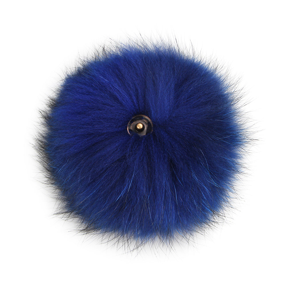 FURTALK Real Raccoon Fur Pom Pom Snap Style Navy Color