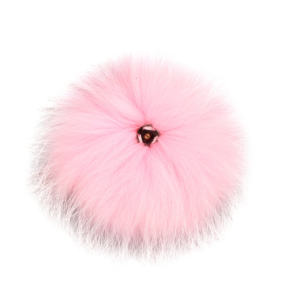FURTALK Real Raccoon Fur Pom Pom Snap Style Pink Color