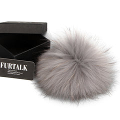 FURTALK Real Raccoon Fur Pom Pom Snap Style PPRN002