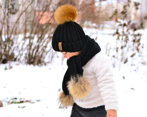 FURTALK Real Raccoon Fur Pom Pom Hat Scarf Set for Kids HTWL029