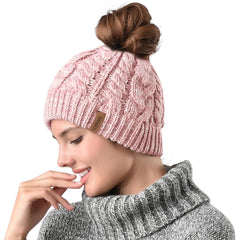 FURTALK Winter Women Messy Bun Beanies Hat Drop Shipping AD014