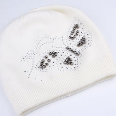 FURTALK Women WinterWool Blended  Beanie Hat Butterfly Sequin Drop Shipping  B004