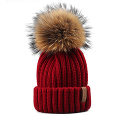 FURTALK Winter Women  Real Fur PomPom Hat  Drop Shipping HTWL001