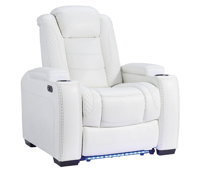 Party Time Chair - Power Reclining w/ Power Headrest - White