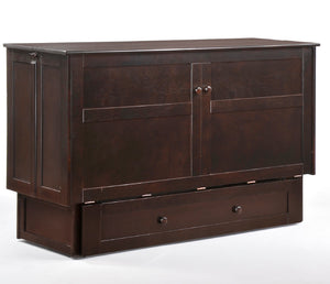 Clover Murphy Cabinet Bed w/ Mattress - Chocolate