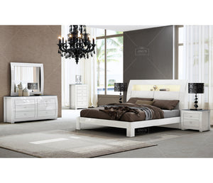 Cosmo Platform Bed W/ LED Lights & Storage- White