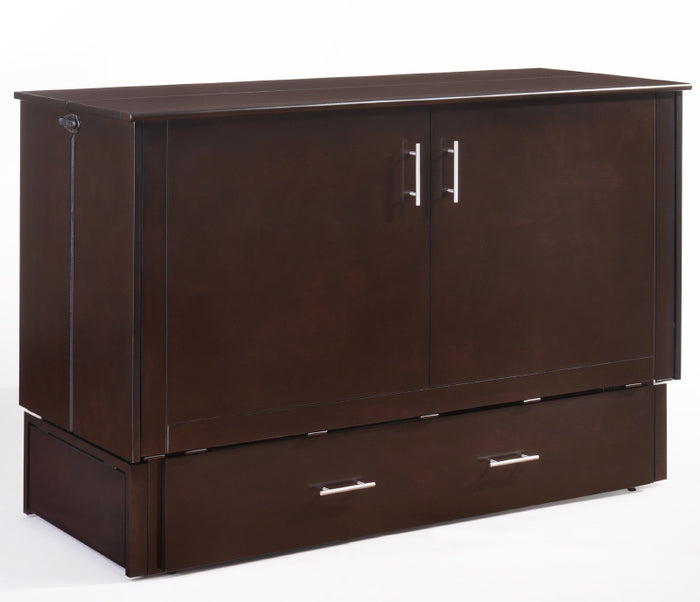 Sagebrush Murphy Cabinet Bed w/ Mattress - Chocolate