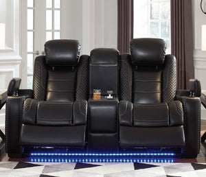 Party Time Loveseat - Power Reclining w/ Power Headrests - Black