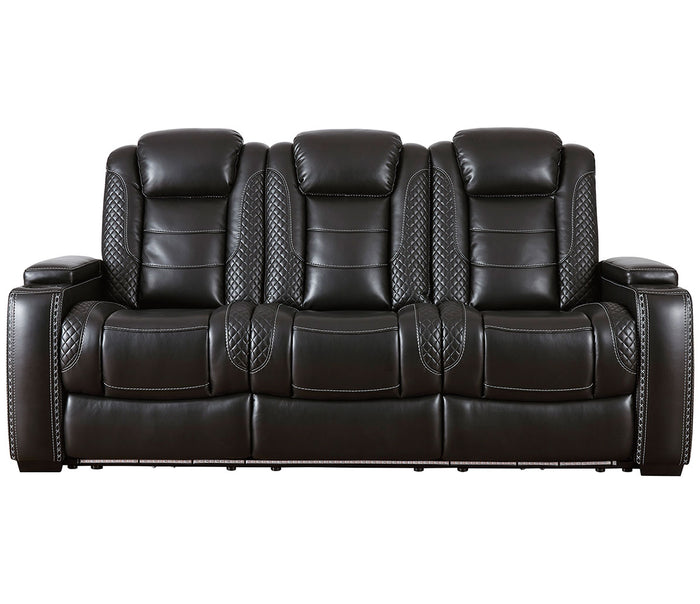 Party Time Sofa - Power Reclining w/ Power Headrests - Black