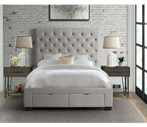 Waldorf Upholstered Bed w/ Storage - Grey