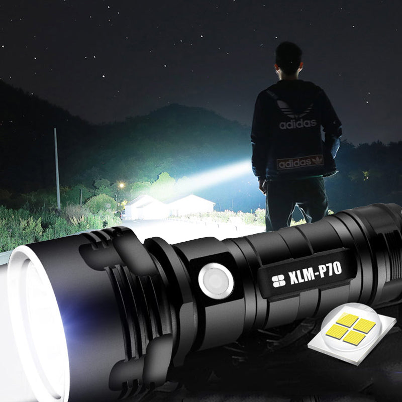 Powerful, Tactical, Waterproof & USB Rechargeable LED Flashlight, Sometimes Mistaken as The Sun!