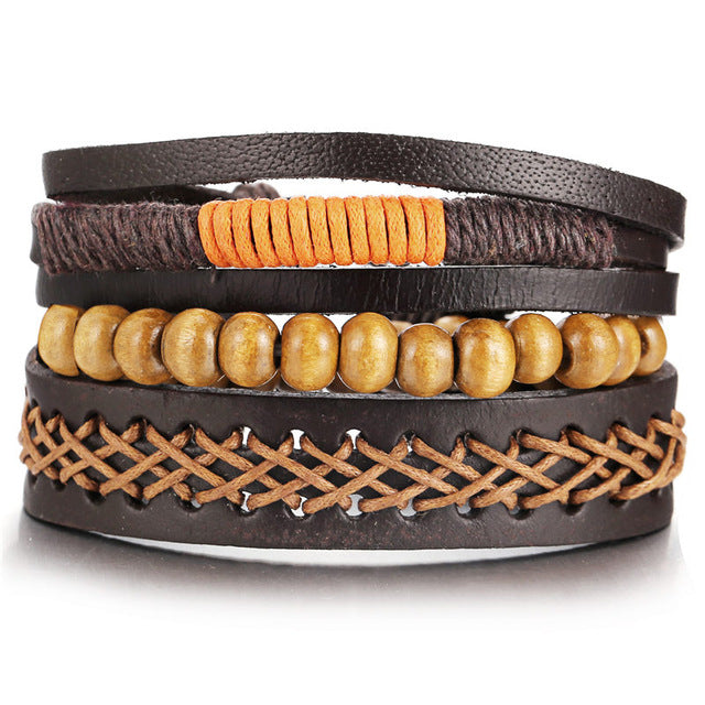 wooden leather bracelet