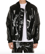 Vegan Patent Leather Bomber Jacket