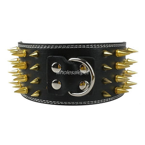 3 inch Wide Spike Leather Dog Collar for Large Breeds Pitbull American Bully M L XL Sizes
