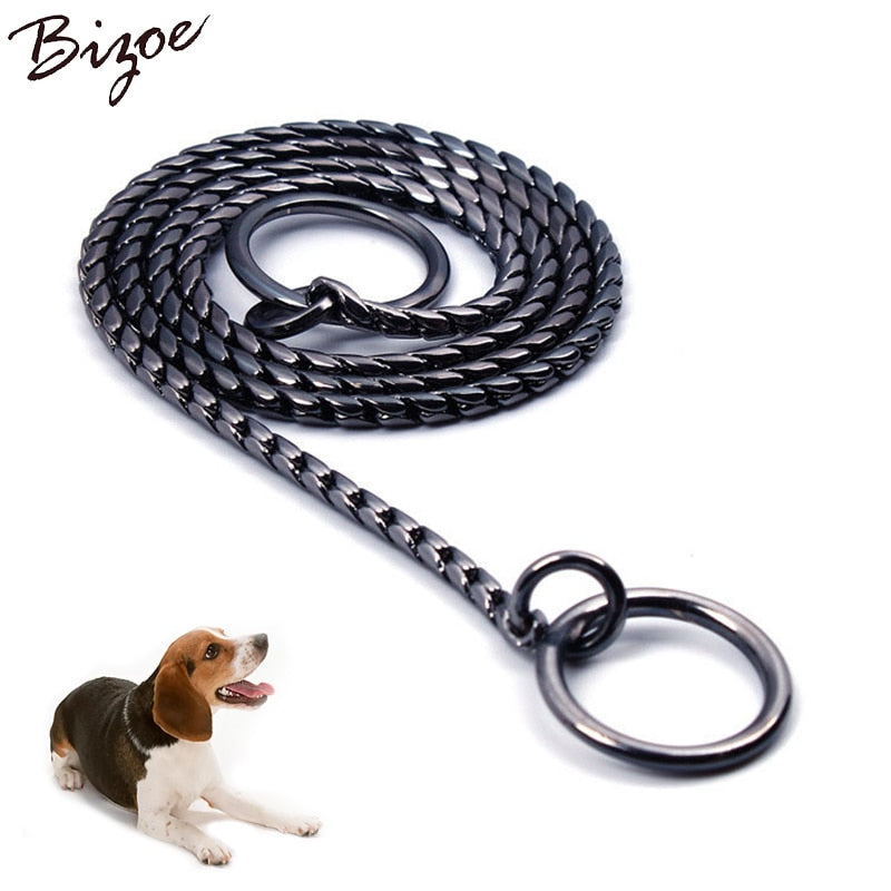 Snake Chain Dog Show Collar Heavy Metal Chain Dog Training Choke Collar Strong Chrome or Gold 3mm 4mm 5mm Diameter 45cm Length