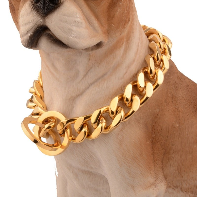 12/14/18mm Strong Gold Stainless Steel Slip Dog Collar Metal Dogs Training Choke Chain Collars for Large Dogs Pitbull Bulldog