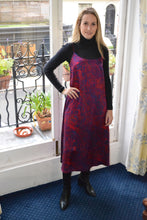 Load image into Gallery viewer, REVERSIBLE Alice Silk Dress - Fire Ocean/Navy