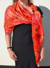 Load image into Gallery viewer, Large Square Coral Reef Silk Satin Scarf