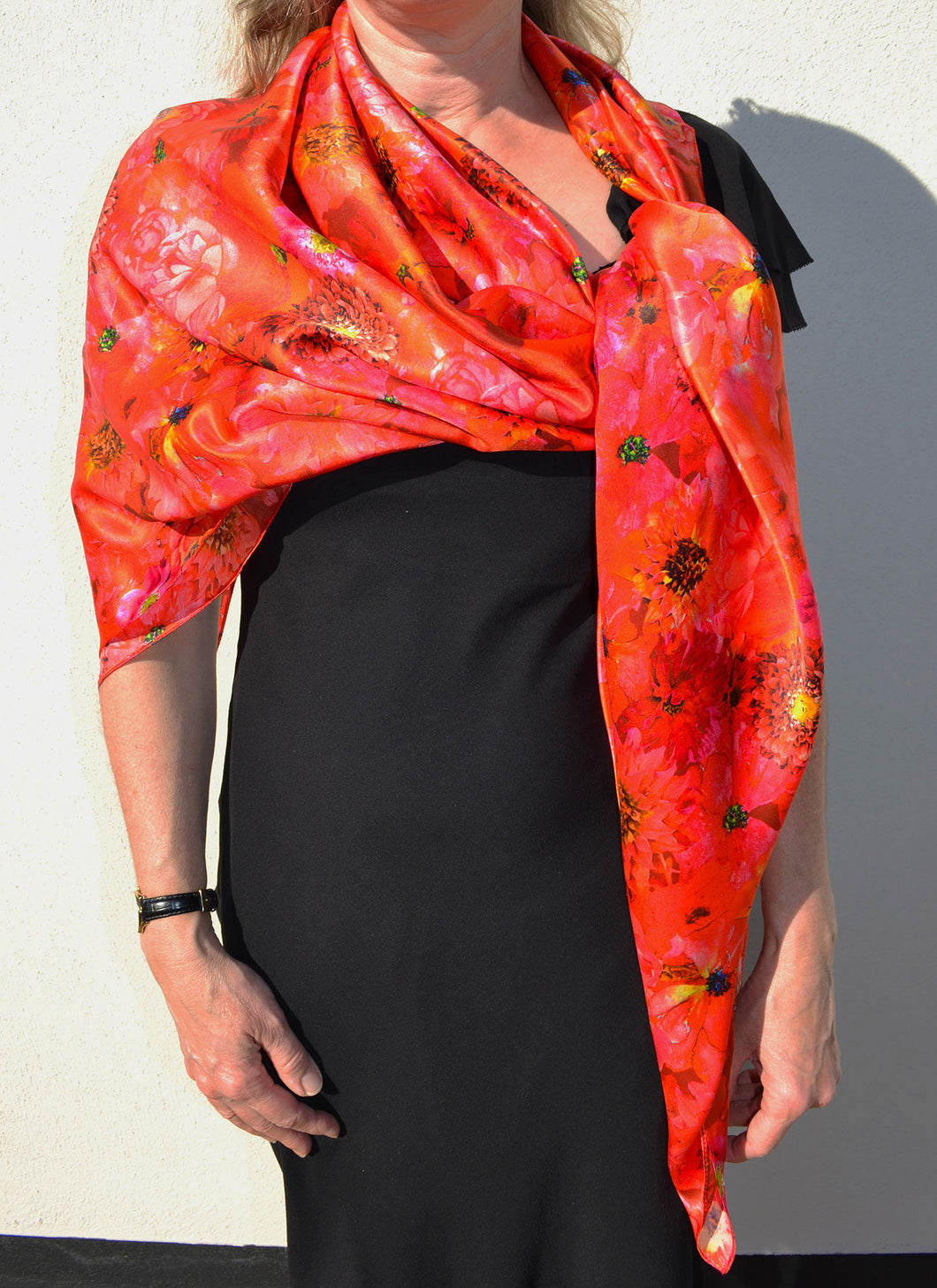 Large Square Coral Reef Silk Satin Scarf