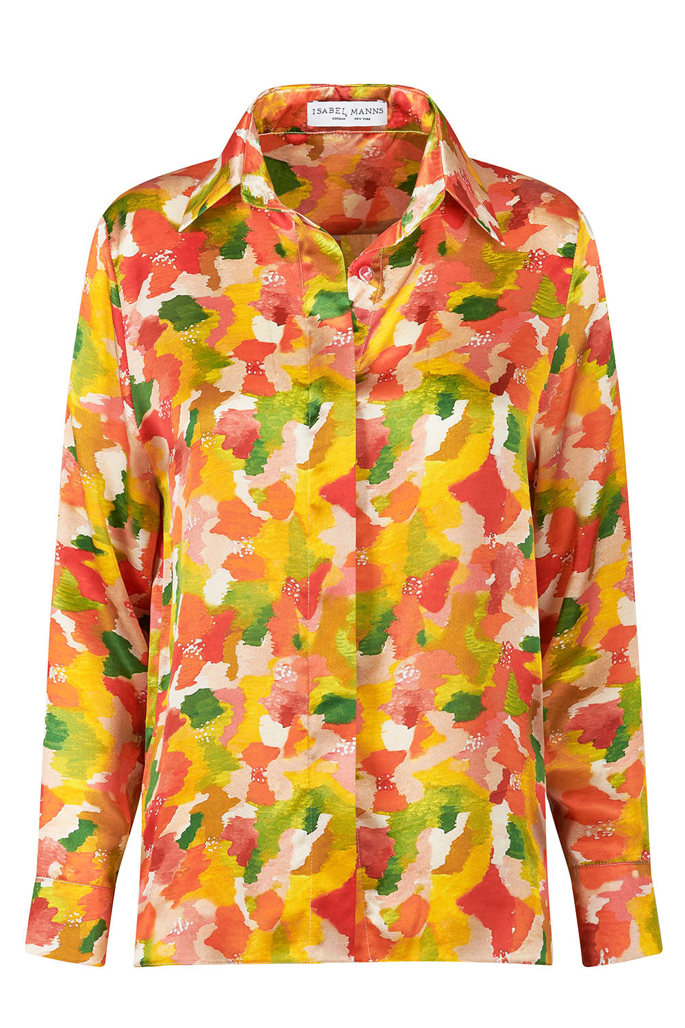 Lisa Silk Satin Shirt - Multi Marinace