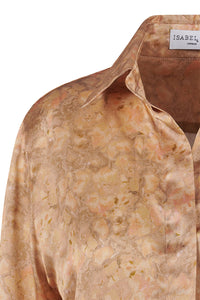 Lisa Silk Satin Shirt - Sandstone Montage
