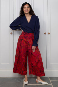 Matilda Cotton Culotte Trousers - Sunset Meadow