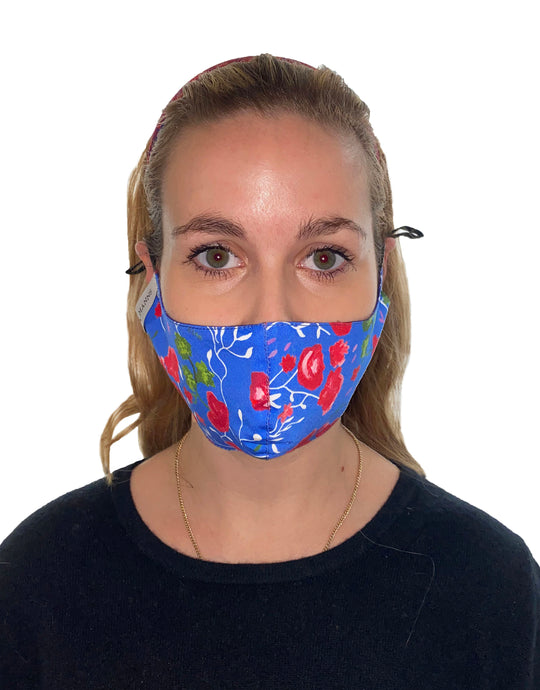 REVERSIBLE Ocean Water/Mandevilla Vine Fitted Mask