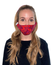 Load image into Gallery viewer, REVERSIBLE Scarlett Pebbles/Flecked Emerald Fitted Mask