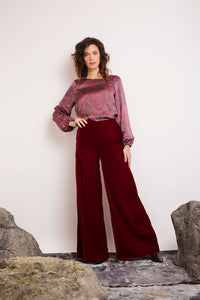 REVERSIBLE Maria Silk Top - Fired Pumice/Burgundy