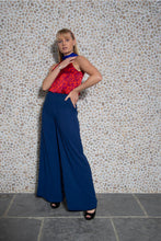 Load image into Gallery viewer, REVERSIBLE Mia Velvet Palazzo Pants - Midnight Shimmer/Navy