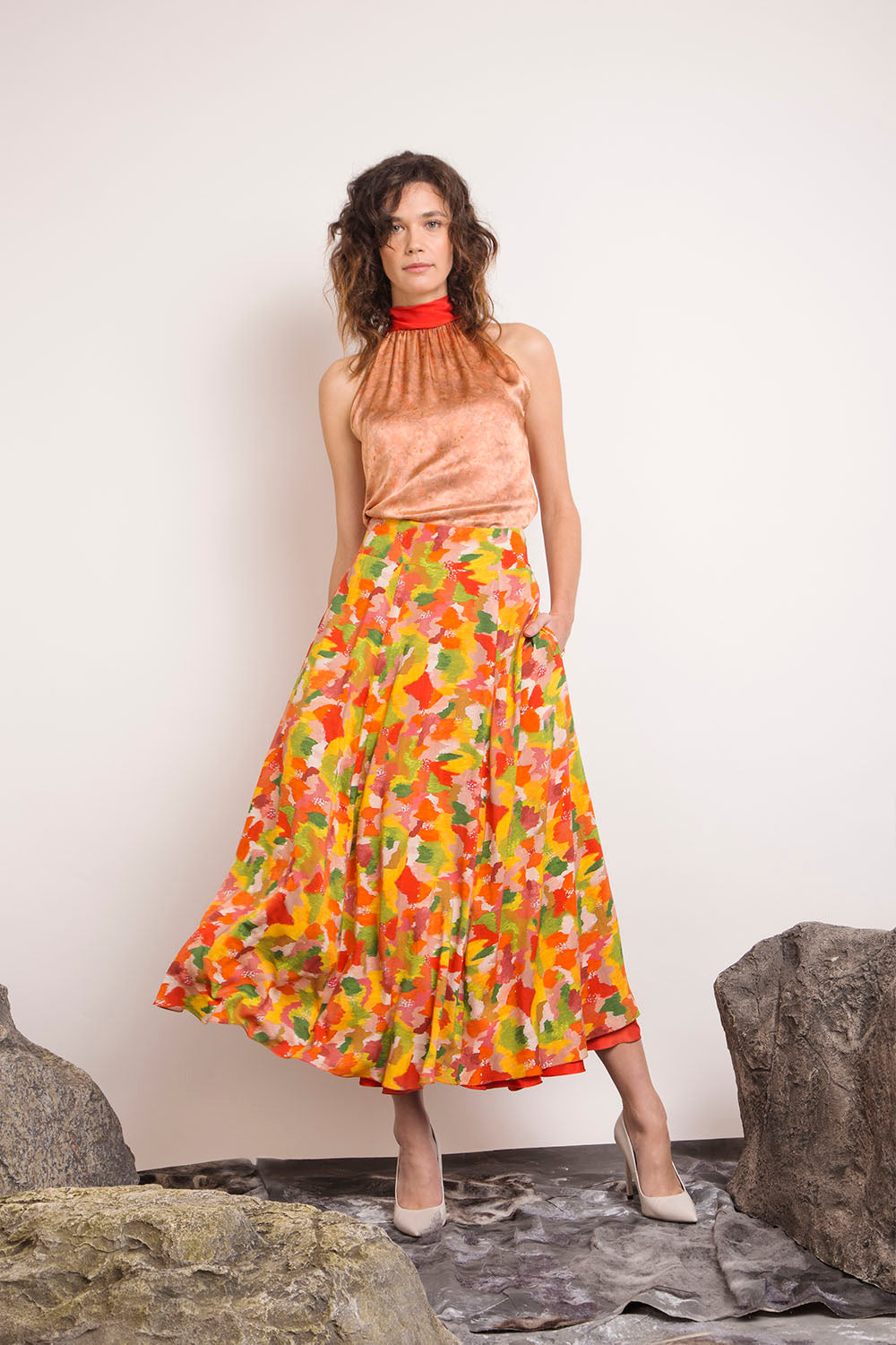 REVERSIBLE Sustainable Lizzy Skirt - Multi Marinace/Terracotta