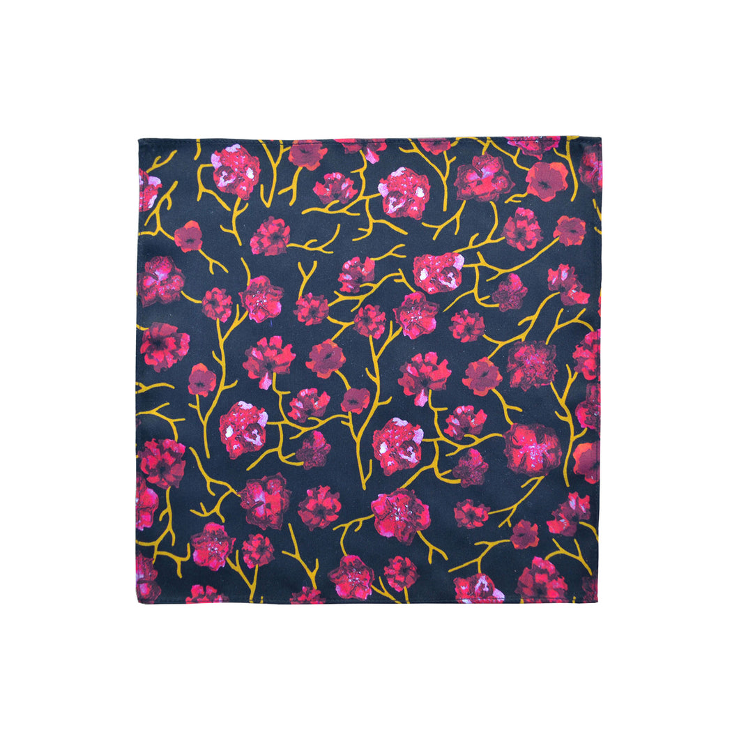 Red Flower Vine Pocket Square