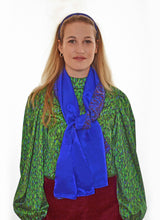 Load image into Gallery viewer, REVERSIBLE Flecked Sapphire/Cobalt Silk Scarf