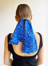 Load image into Gallery viewer, Sapphire Hydrangea Sea Small Silk Satin Scarf