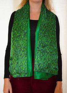 REVERSIBLE Flecked Emerald/Green Silk Scarf