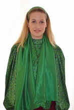 Load image into Gallery viewer, REVERSIBLE Flecked Emerald/Green Silk Scarf