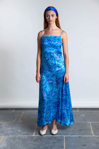 Ellie Silk Satin Dress - Anarchic Azure