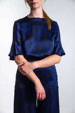 Load image into Gallery viewer, REVERSIBLE Rosie Silk Satin Top - Floral Camo/Cobalt