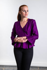 REVERSIBLE Emily Silk Wrap Top