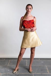 REVERSIBLE Tammy Skirt - Sunset Meadow/Gold