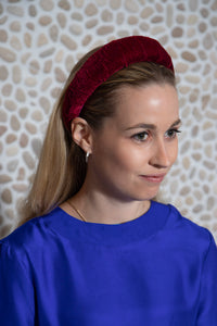 Burgundy Velvet Padded Headband